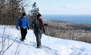 Snowshoeing at Surfside on Superior