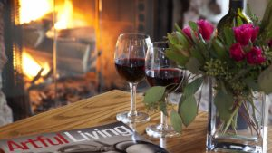 Wine Glasses and Fireplace