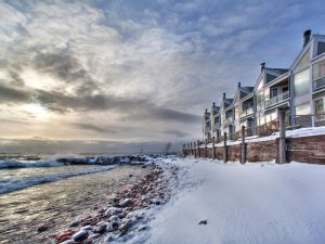 Bluefin Bay Resort with snow on the shore