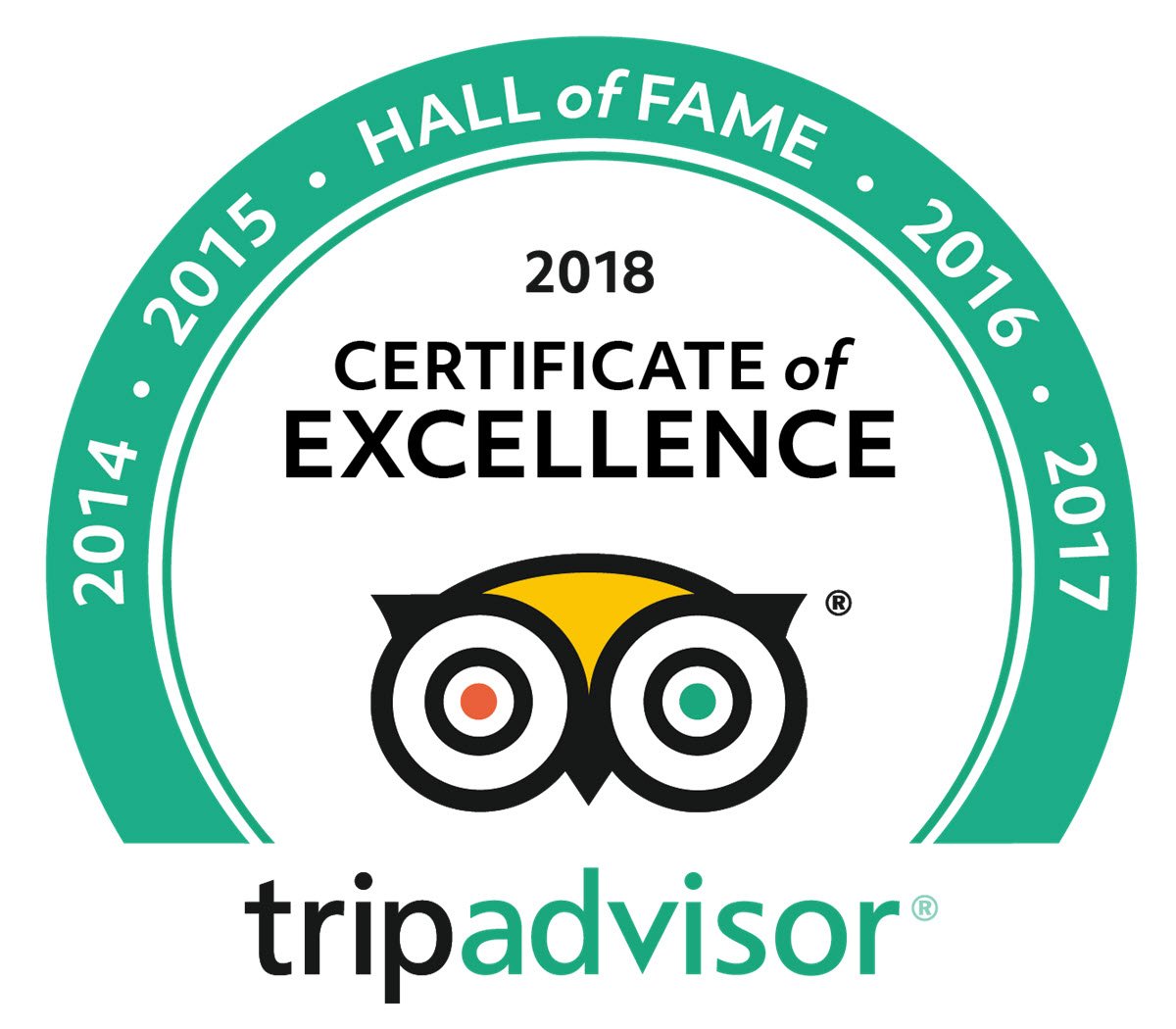 2018 Hall of Fame tripadvisor logo