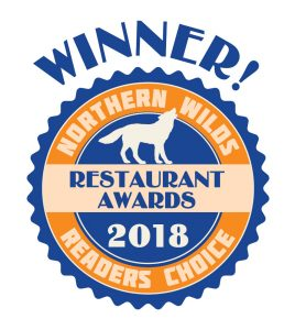2018 Northern Wilds Readers Choice Resturant Award