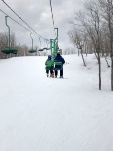 Lutsen Mountains Father and Son on Chair Lift