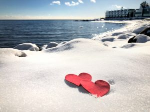 Valentine Hearts In The Snow at Bluefin Bay Family of Resorts