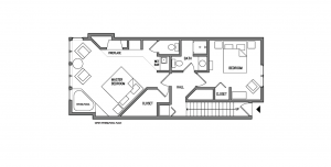 Superior Three Bedroom Townhome Floorplan 1